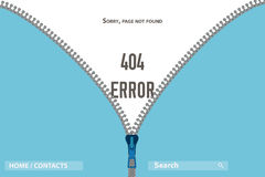 Reißverschluss auf Kleidung Seiten-nicht gefundenem Fehler 404, Illustration Stockfoto