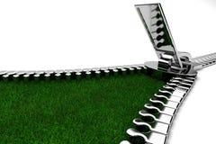 Reißverschluss mit Gras Lizenzfreie Stockfotografie
