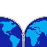 Reißverschluss und globale Karte stock abbildung