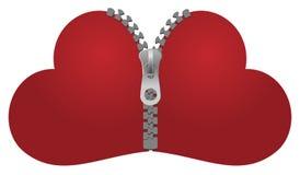 Reißverschluss zugemachte Herzen Stockfotografie