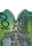 Reißverschluss zugemachter Australier hundert Dollaranmerkung Lizenzfreies Stockbild