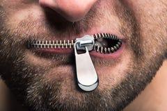 Reißverschluss zugemachter Mund Lizenzfreie Stockfotografie