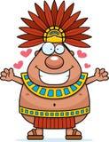 Rei asteca Hug dos desenhos animados ilustração stock