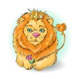 Rei bonito do leão dos desenhos animados com uma rosa Imagem de Stock Royalty Free