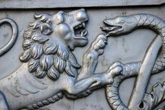 Rei Cannon no Kremlin de Moscou, cabeça do canhão do czar do leão Foto de Stock Royalty Free