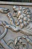 Rei Cannon no Kremlin de Moscou, cabeça do canhão do czar do leão Fotografia de Stock Royalty Free