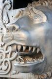 Rei Cannon no Kremlin de Moscou, cabeça do canhão do czar do leão Fotografia de Stock