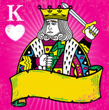 Rei colorido dos corações com ilustração da bandeira Fotografia de Stock