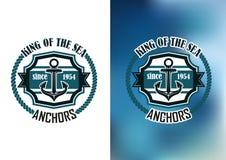 Rei do emblema das âncoras de mar Foto de Stock