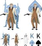Rei do padrinho caucasiano do mafioso das pás com ilustração royalty free