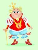 Rei dos desenhos animados em um revestimento vermelho Imagem de Stock Royalty Free