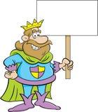 Rei dos desenhos animados que prende um sinal Imagem de Stock