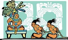 Rei e prisioneiros maias ilustração stock