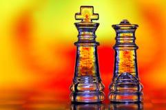 Rei e rainha da xadrez Fotografia de Stock