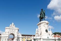 Rei equestre Jose Eu e Rua Augusta Arch da estátua imagem de stock royalty free