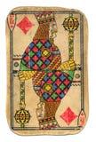 Rei friccionado usado vintage do cartão de jogo dos diamantes isolados Fotografia de Stock