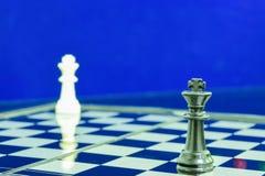 Rei preto e rei branco no cornner Fotografia de Stock Royalty Free