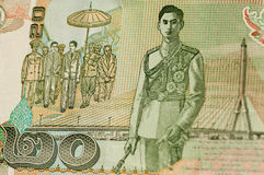 Rei Rama VIII na nota de banco tailandesa de 20 bahts Fotografia de Stock Royalty Free