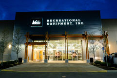REI Storefront at Dusk in Salem Oregon. SALEM, OR - FEBRUARY 27, 2016: Recreational Equipment Inc, commonly referred to as REI, brand new storefront in Salem Stock Images