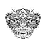 Rei tirado mão dos macacos que colorem a página Imagens de Stock