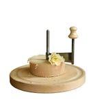Reibeneinheit des Schweizer Käses Tete de Moine Stockfotografie