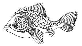 Reich verzierte Fischhandzeichnung Stockfoto