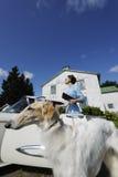 Reiche Dame mit großem Hund lizenzfreie stockfotos