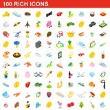 100 reiche Ikonen eingestellt, isometrische Art 3d lizenzfreie abbildung