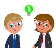 Reiche Manager mit Dollar in den Augen Stockfotografie
