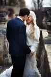 Reiche pflegen sich und Braut huggingoutdoor Hintergrund-Wandgras wärmen a Lizenzfreies Stockfoto