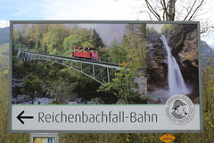 The Reichenbach falls where according Sir Arthur Conan Doyle Sherlock Holmes vanquished Professor Moriarty on May 4, 1891. MEIRINGEN, SWITZERLAND - MAY 6, 2017 Stock Image