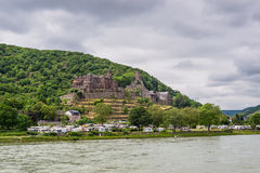 Reichenstein castle and Camping Marienort in cloudy weather on t Royalty Free Stock Photos