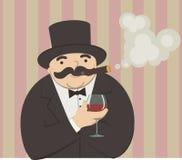 Reicher mit einem Glas Wein Stockbild