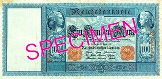 100 reichsmark bank note 1910 obverse. Specimen stock image