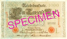 1000 reichsmark bank note 1910 obverse. Specimen royalty free stock photography