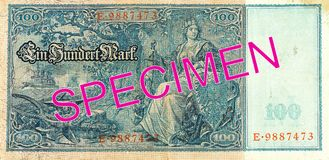 100 reichsmark bank note 1910 reverse. Specimen royalty free stock photography