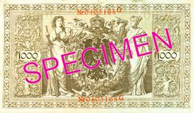 1000 reichsmark bank note 1910 reverse. Specimen royalty free stock photography