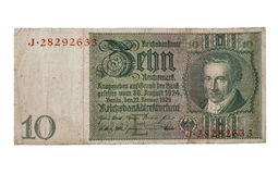 10 Reichsmark-bankbiljet dat op wit wordt geïsoleerd Royalty-vrije Stock Foto