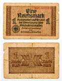 1 reichsmark bill of Germany isolated on white Stock Photos