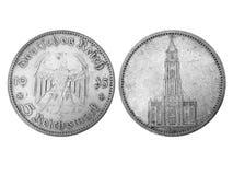 reichsmark grayscale монетки 5 времен старый Стоковая Фотография RF