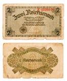 2 reichsmark rachunek Niemcy odizolowywał na bielu Obrazy Stock