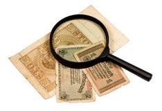 Reichsmarks rachunek Niemcy, Polski złoty i magnifier odizolowywający, Obraz Stock