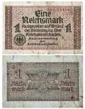1 Reichsmarksedel 1938-1945 Arkivfoto