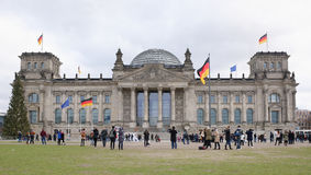 Reichstag -一个历史建筑在岁月1894-1933寸 图库摄影