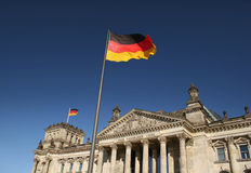 Reichstag in Berlin. Parliament of Germany - Reichstag in Berlin with flaggs stock photo