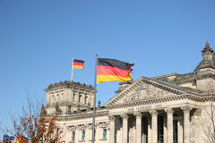 Reichstag in Berlin. German Parliament Reichstag in Berlin with flaggs royalty free stock photography