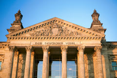 Reichstag of Berlin. Historic building bright lime stone against blue sky Royalty Free Stock Images