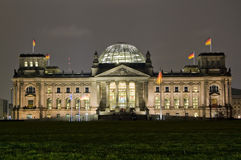 Reichstag Berlin. The German parliament building in Berlin called the Reichstag at night time Royalty Free Stock Image