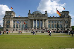 The Reichstag - Berlin. Dem Deutschen Volke (to the German People).  The meeting place of the German parliament Stock Photos