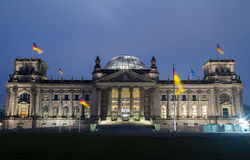 Reichstag Berlin. German Reichstag and Bundestag in Berlin, Germany at night Royalty Free Stock Photography
